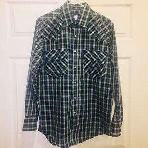 Wrangler Shirt Pearl Snap Button Up Rockabilly